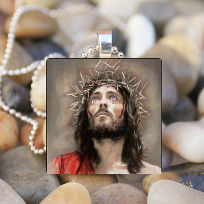 Jesus Christ Birth Religious Art Glass Tile Pendant Necklace Jewelry Christian