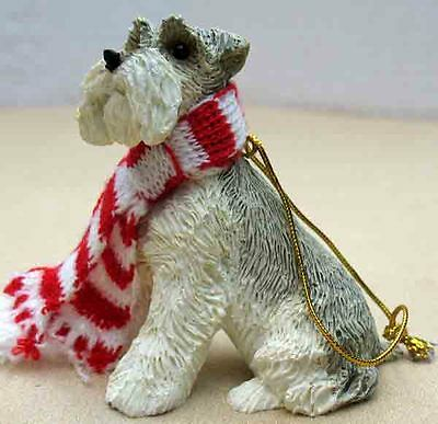 Sandicast Schnauzer,gray, Uc Ears Sitting Ornament  Item Xso018