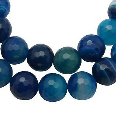 10mm Blue AGATE Beads Round Faceted Natural Gemstones gag0050