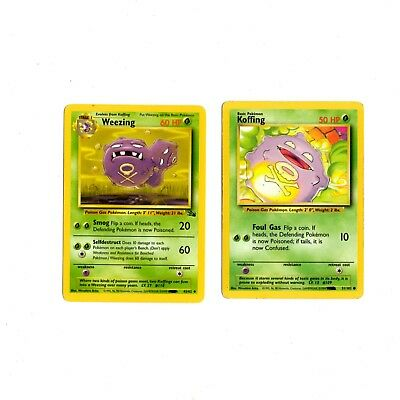 Pokemon Card Weezing 45/62 Fossil & Koffing 51/102 Base Cards Lot As Is