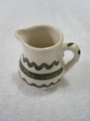 Welsh - Dragon Pottery - Mint Sauce Jug -  Cream and Green