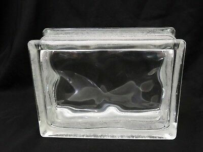 "Vintage Architectural WAVED Glass Building Block Reclaimed Rectangle 6.25""x5.75"""