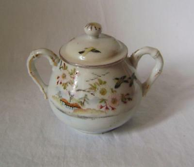 Beautiful Hand Painted Japanese Porcelain Sugar Bowl & Cover early 20th Century