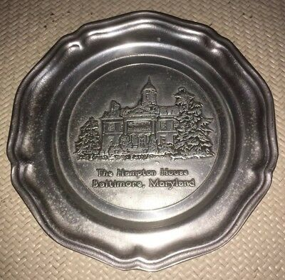 """*REDUCED*...PEWTER PLATE 7"""" ....THE HAMPTON HOUSE....Baltimore, Maryland"""