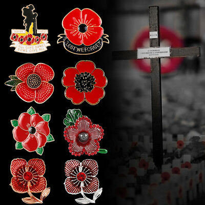 NEW Poppy Pin Badges Brooch Red Brooches Enamel Cross Soldier Military Army 2018