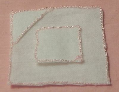 Dollhouse Miniature Baby Towel with Washcloth Set Pink White Falcon 1:12 Scale