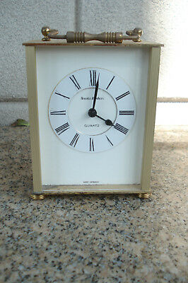 Vintage Brooks Brothers Small Brass Advertising Carriage Clock Junghans Movement