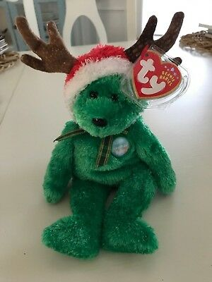 Ty 2002 HOLIDAY TEDDY Green Christmas Reindeer Bear Beanie Baby Babies MWMT 563e4820f245