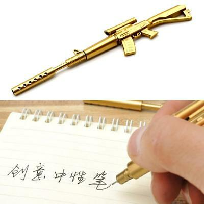 Gold Rifle Shape Black Ink Ballpoint Pen Stationery Office Ball Point Novelty FZ