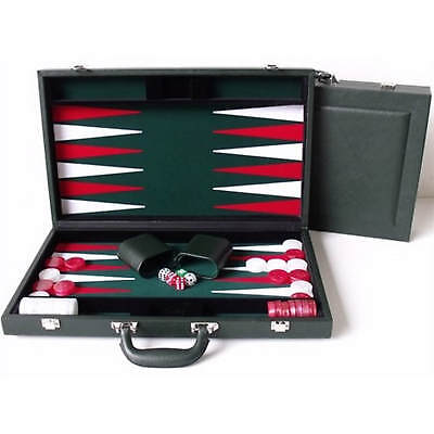 "Dal Rossi Italy Executive 18"" 45 cm Green PU Leather Backgammon Board game"