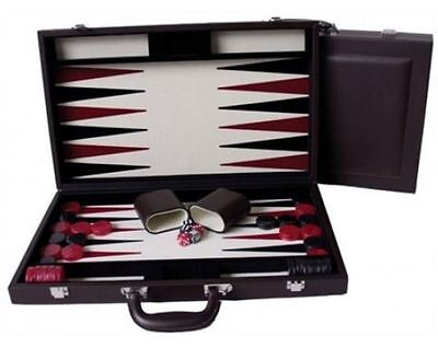 "Dal Rossi Italy Executive 18"" 45 cm Brown PU Leather Backgammon"