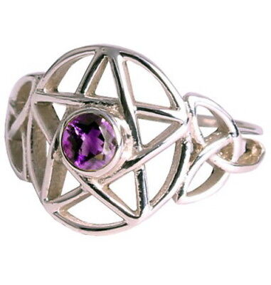 RING: SIZE 7 PENTAGRAM & AMETHYST - 925 SILVER  - Wicca Pagan Witch Goth Occult