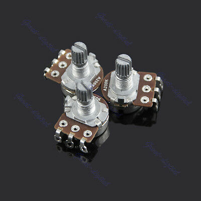 New A250k Split Shaft Guitar Potentiometer Pots Audio Tone Switch Control 3 Pcs