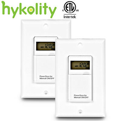 7 Days Digital In-Wall Programmable Electrical Timer Switch ON/OFF Lamp ETL 2Pcs
