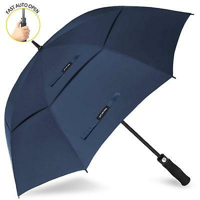 62 In Double Canopy Big Golf Umbrella Windproof Vented Extra Large Oversize Blue