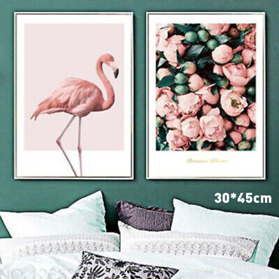 Pink Flamingo Nordic Poster Rose Flowers Canvas Art Painting Home Wall Decor DIY