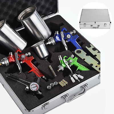 3 pcs HVLP Air Spray Guns Kit Auto Paint Car Primer Basecoat Clearcoat w/ Case