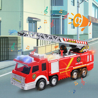 Fire Truck Model Toy Pull Back Alloy Kids Toys Gift For Boys With Light & Sound