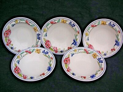 5 x Wood And Sons Alpine Meadow CERIAL  bowls