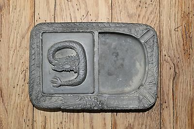 Vintage Ink Stone Dragon Carved Inkstone  w/ Cover Ancient Asian Decor Chinese?
