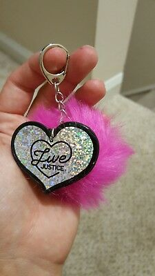 Girls Justice key chain ring pom pom heart school back pack