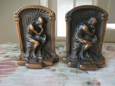 ANTIQUE Vintage Pair THE THINKER Bookends CAST Iron Copper Plated THINKING MAN