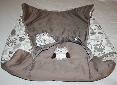 Eddie Bauer Unisex BABY SHOPPING CART HIGHCHAIR COVER Gray Brown Owl Deer Forest