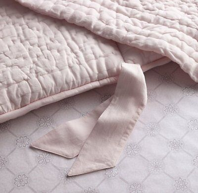 Restoration Hardware Pink Petal Quilted Voile Crib Bumber and Rail Covers
