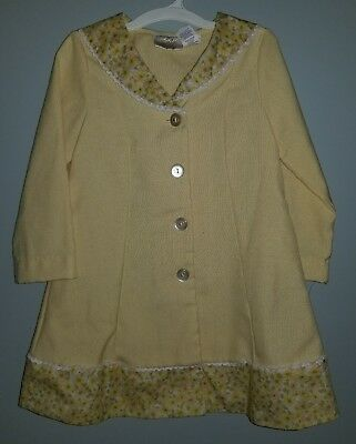 Vintage Little Bitty 4/4T girls yellow floral coat dress long sleeve 1970s