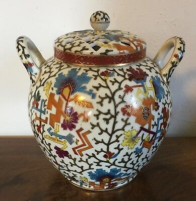 Antique 19th c. Vienna Porcelain Potpourri Vase Urn 2 Covers Aesthetic Movement