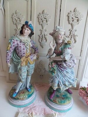 Fab Old Rare  Pair Of  L&l Vintage Metal Victorian Lady & Man Statue Figurines