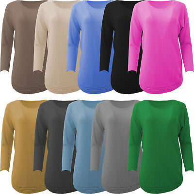 Womens Italian Angora Wool Mix Round Ribbed Hem Soft Knitted Ladies Jumper Top