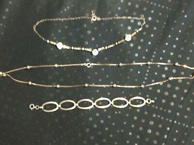 Antique Sterling Silver Bracelet And Necklaces - Crystal And Silver - 19 Grams