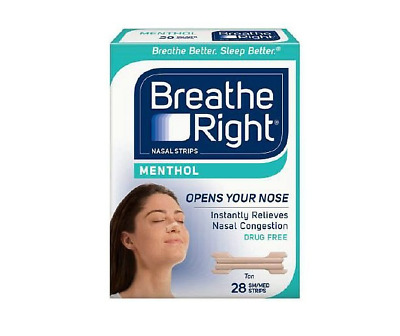 28 Breathe Right MENTHOL Nose Strips Nasal Adult Size Small Medium Stop Snoring