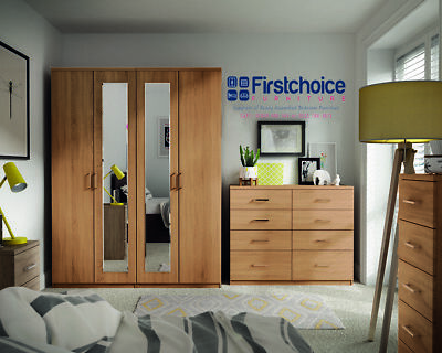 Medina Ferrara Oak Wardrobe Drawers Set Fully Ready Assembled Bedroom Furniture