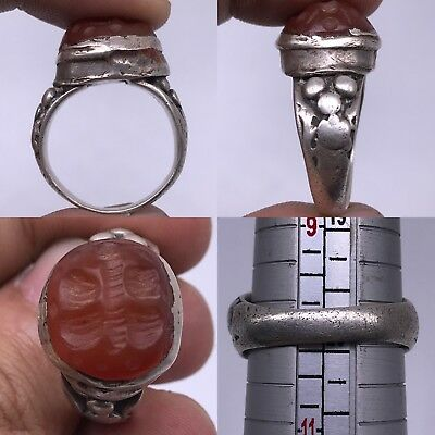 Roman Ancient Silver  Agate butterfly Stone Beautiful Lovely Ring