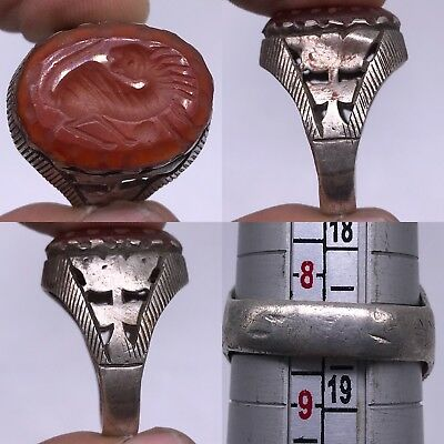 Ancient Silver Agate Stone Lion  Beautiful Lovely Ring