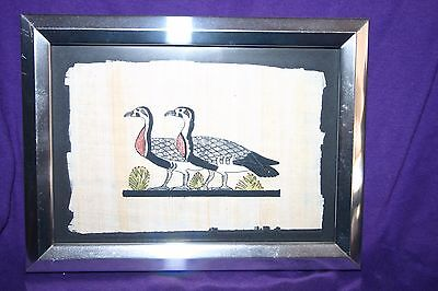 """Egyptian Papyrus Paper Hand Painting Duck Framed 6 x 7 3/4"""""""