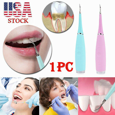 Portable USB Electric Sonic Dental Scaler Calculus Tooth Stains Remover Tools US