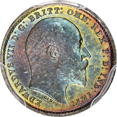 1902 2D Great Britain Mdy PCGS PL65 Monster Rainbow Toned