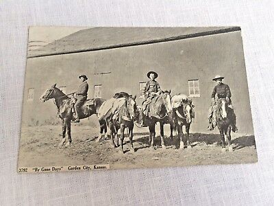 Garden City KS Cowboys and Horses 1912 Postcard Real Photo By Gone Days