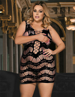 Plus Size Babydoll Laser cut out Chemise Dresst Queen 1x 2x 3x Red Black Blue