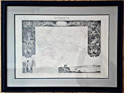 c1850 FRAMED OCEANIE MAP From the Atlas Universel Illustre by Victor Levasseur