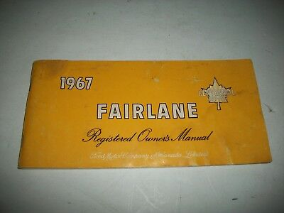 1967 Ford Fairlane Registered Owners Manual Canadian Issue