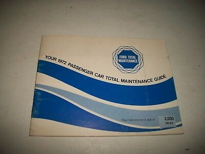 1972 Ford & Mercury Cars Total Maintenance Record Guide Nos Unused
