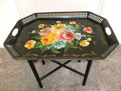Nice Condition Vintage Hand Painted Flowers Tole Tray & Wood Stand Coffee Table