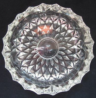 "Vintage Heavy Round Ornate Brilliant Clear Glass Ashtray Diamond Pattern 7"" Wide"