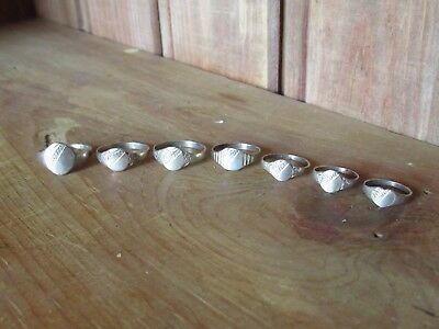 Lot Of 7 Vintage Antique Victorian Engraved Silver Childrens Small Signet Rings