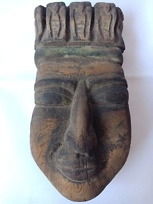 Mummy Egyptian Antique Wooden Mask