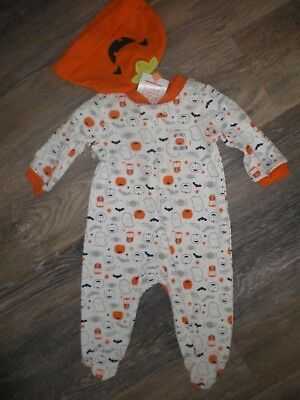 Baby Boy or Girl Halloween Outfit Carters Size NB or 6M NEW Sleep N Play w Hat